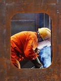Electric welder in the shipyard Stock Photos