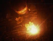 Electric Welder weld metal. Royalty Free Stock Images