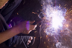 Electric welding. An electric welding close-up indoor Stock Image