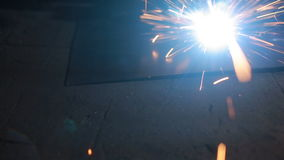 Electric welding, closeup, flying sparks. stock video
