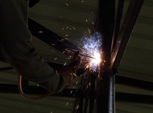 Electric welding connecting construction metal Stock Photography
