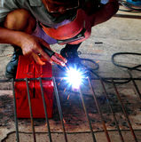 electric welding connecting square bar Stock Images