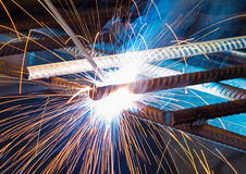 Electric welding of metal parts Stock Image