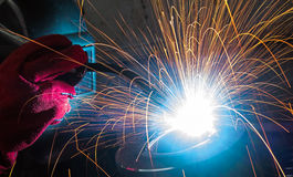 Electric welding of metal parts Royalty Free Stock Photos