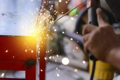 The electric welding process.Arc welding process. With lighting effect Royalty Free Stock Photos
