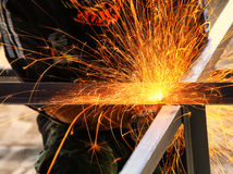Electric wheel cutting on steel structure Royalty Free Stock Photos
