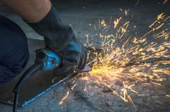 Electric wheel grinding. royalty free stock photography