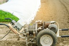 Electric winch or cultivator for of agricultural work, farming, cultivation, agro-industry, the chain mechanism and gear.  royalty free stock images