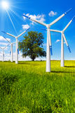 Electric Wind Generators in Countryside Royalty Free Stock Image