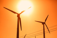 Electric wind turbines farm Stock Image