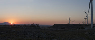Electric wind turbines farm with sunset light on arid landscape Royalty Free Stock Photos