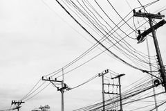 Electric wire in black and white Royalty Free Stock Photography