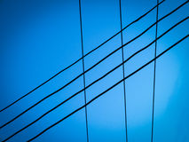 Electric wire. With blue sky Stock Photography