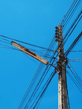Electric wire / a confusion Electric wire. In blue sky Stock Images