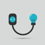 Electric wire light bulb and plug. Vector design Stock Image