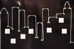Electric wire and light switches in the form of an abstraction of the city. Royalty Free Stock Photography