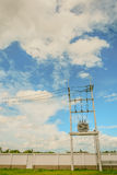 Electric wire on the pole, power,blue sky background with pastel Stock Photos