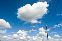 Electric wire and the sky. The sky with electric wire and cloud Stock Photography