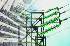 Electric and wires on a background of money . The concept of raising electricity tariffs Royalty Free Stock Photos