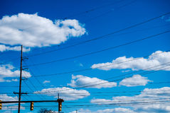 Electric Wires in Blue Sky Stock Photography