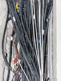 Electric wires cables new house construction Stock Photo