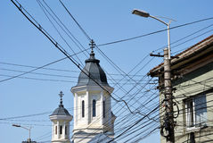 Electric wires in city Stock Image