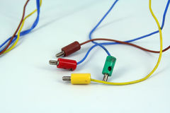 Electric wires. With plastic jack. Electric cable Stock Photos