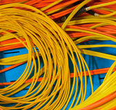 Electric wires of red and yellow Stock Image