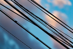 Electric wires at sunset as an background. Electric wires at sunset as an abstract background Royalty Free Stock Photos