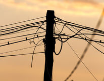 Electric wires at sunset as an background. Electric wires at sunset as an abstract background Royalty Free Stock Photo