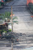 Electric wires in Thailand. Stock Photos
