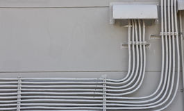 Electric wiring. System,Conduits on wall royalty free stock photos