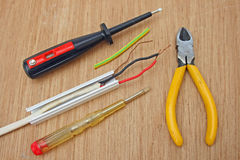 Electric wiring and tools. Stock Images