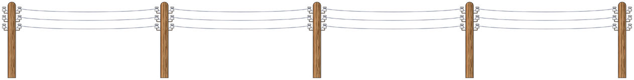 Electric wooden poles with wires. On a white background - vector illustration Stock Images