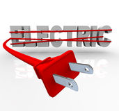 Electric - Wrapped in Power Cord. The word Electric wrapped in a red power cord Royalty Free Stock Images