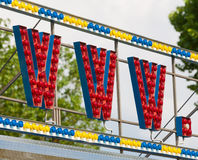Electric WWW sign on a scaffolding. In circus-style during the daylight Stock Images