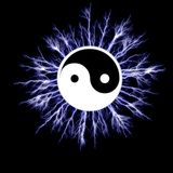 Electric YinYang symbol Royalty Free Stock Image