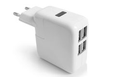 Electrical adapter to USB ports Stock Photo