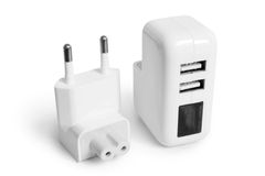 Electrical adapter to USB ports Royalty Free Stock Photos