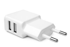 Electrical adapter to USB ports Stock Images