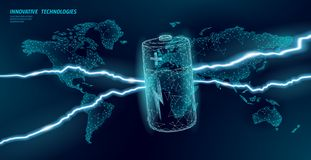 Electrical alkaline battery global problem concept. Eco environment pollution toxic power supply. Low poly World map. Battery accumulator thunder lightning royalty free illustration