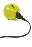 Electrical apple with electrical cord Royalty Free Stock Image