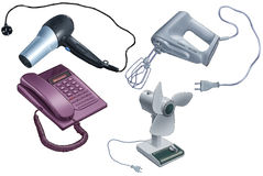 Electrical appliance. Hair drier, mixer, phone and the fan on a white background Royalty Free Stock Image