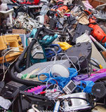 Electrical appliance waste material. Broken electrical items for recycling stock photo