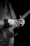 Electrical bass-guitar black and white Stock Photography