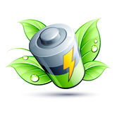 Electrical battery green leaf Stock Photo