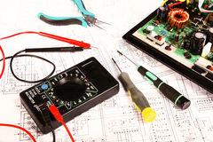 Electrical board. Checking and repair of electrical equipment Royalty Free Stock Images
