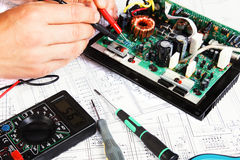 Electrical board. Checking and repair of electrical equipment Royalty Free Stock Photography