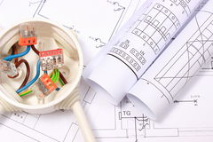 Electrical box with cables and diagrams on construction drawing Royalty Free Stock Photo