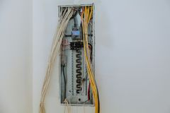 жelectrical box contains many terminals, relays, wires and switches. Royalty Free Stock Photos